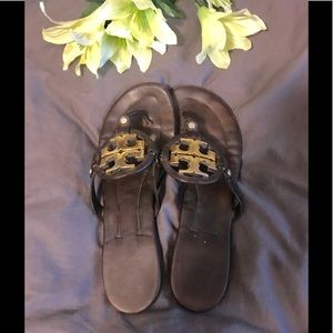 Tory Burch dark brown slides